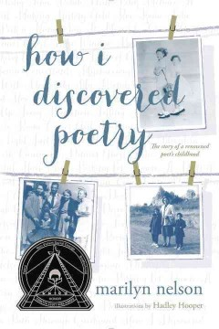 """Images of photos in shades of blue and white over a white background the images are held to clotheslines with clothes pins. The words """"How I Discovered Poetry"""" are written in loopy blue script."""