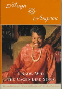 Image of Maya Angelou, a Black woman with short black hair, in a red dress, on front of an orange background.