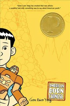 Yellow background. There is an illustraiton of a Chinese-American young-adult wearing what seems to be a superhero costume, who is half on-half off the cover.