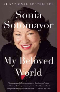 Portrait of Sonia Sotomayor against a dark gray background. She has short, curly, black hair, and is wearing a black blazer over a red shirt.