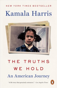 Photo of Kamala Harris as a young child centered on a white background. Her name is written in blue text above the photo. The title is written in red text below, with the subtitle in blue.