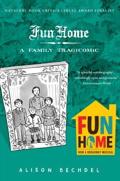 """Teal background, with a floral wallpaper pattern. In the foreground, a black and white illustration of a family photo appears to be sitting on a flat surface. In the lower right corner, the show art for the """"Fun Home"""" Broadway show appears, advertising that this title has been adapted for the stage."""