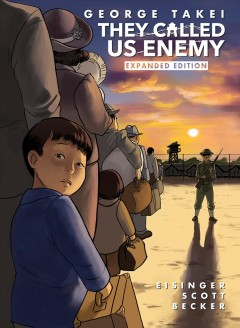 A young Japanese-American boy dressed in blue looks back at us from where he stands in line to enter a Japanese concentration camp. Ahead of him, to the side of a line, is a soldier holding a gun. The sun is setting.
