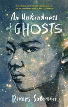 Drawing of a face in mostly blue tones. There are yellow galaxy-like stars illustrated over the face, and over the top of the head, as if they are hair.
