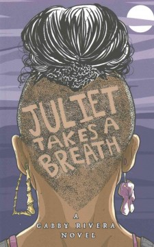 Illustration of a person from behind. The person is wearing two different earrings, with black hair pulled up into an updo on top of their head. They have a close shaved undercut, including letters spelling out the title of the book.