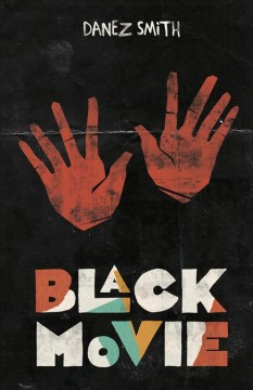 Red handprints on a black background. The title is written in multicolored text at the bottom of the page, red, green, white, and yellow. The author's name is written in white at the top of the page.