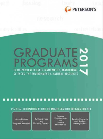 Graduate Programs in Physical Sciences, Mathematics, Agricultural Sciences, Environment &