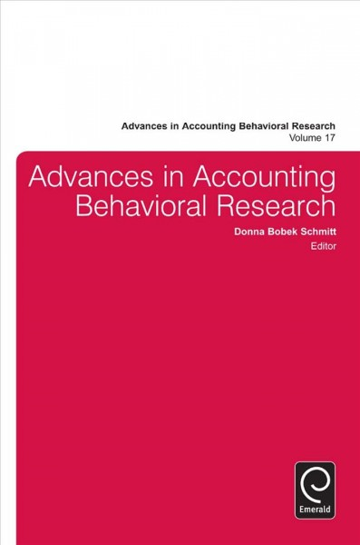Advances in accounting behavioral research /