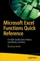 Microsoft Excel functions quick reference : for high-quality data analysis, dashboards, and more