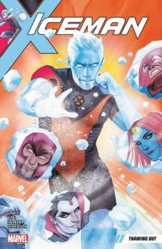 cubierta de hombre de hielo, un hombre hecho de hielo dispara hielo, en el hielo hay imágenes de villanos de x-men como magneto, juggernaut y mystque