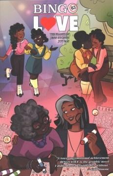 portada de bingo love, dos mujeres negras mayores cogidas de la mano, también hay escenas de ellas patinando y besándose en un banco del parque