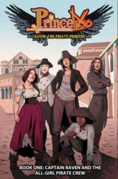 Portada de la princesa pirata rave, cinco mujeres piratas de pie con confianza