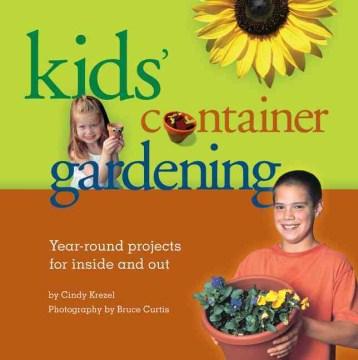 Jardinería de contenedores para niños, portada de libro