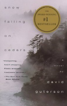 Snow Falling on Cedars by David Guterson (winter themed cover or title)