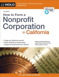 Cover Image of How to Form a Nonprofit Corporation in California