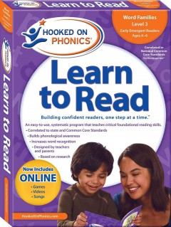 Hooked on phonics. Learn to read, Kindergarten, Level 1, ages 4-6.