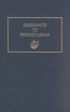 Bookjacket for  Emigrants to Pennsylvania, 1641-1819