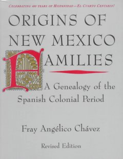 Bookjacket for  Origins of New Mexico families : a genealogy of the Spanish colonial period