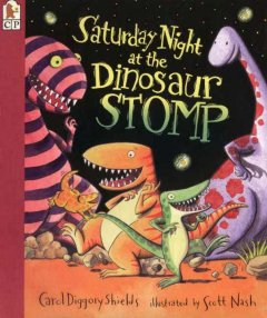 Bookjacket for  Saturday night at the dinosaur stomp
