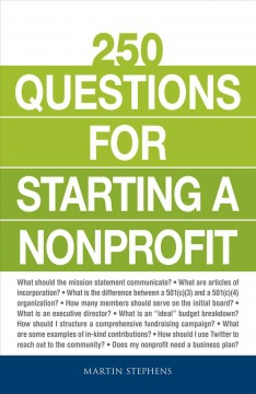 Bookjacket for  250 questions for starting a nonprofit.