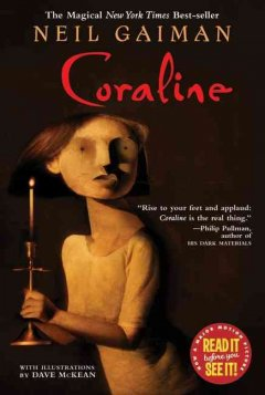 Coraline by Neil Gaiman book cover.