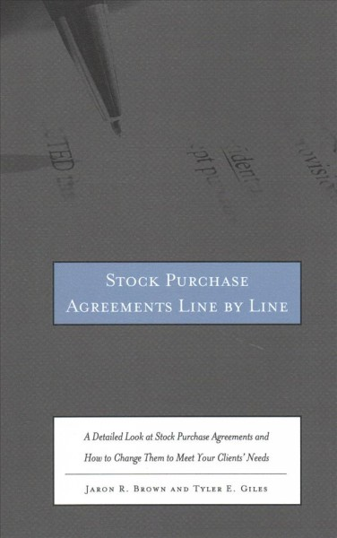 Stock Purchase Agreements Line by Line