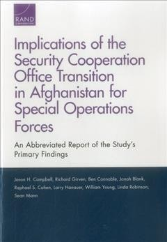 Implications of the Security Cooperation Office Transition in Afghanistan for Special Oper