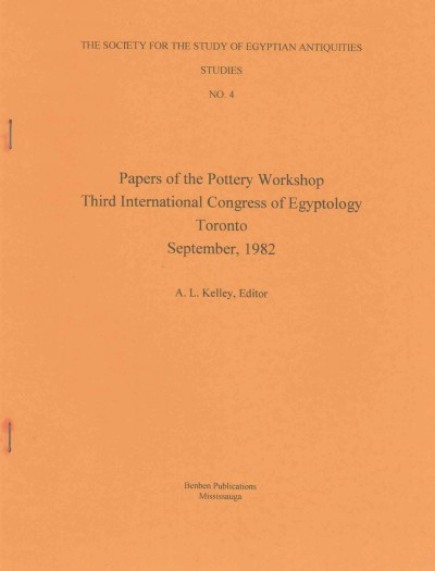 Papers of the Pottery Workshop Third International Congress of Egyptology Toronto, Septemb